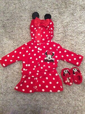minnie mouse dressing gown and slippers 3-6 months