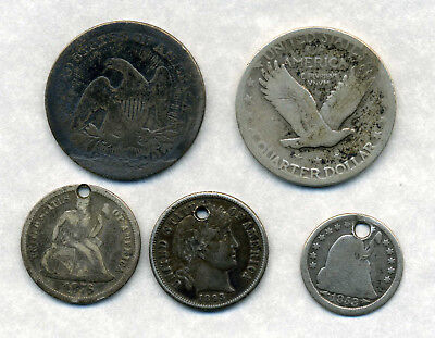 1853 And 1926 Usa Quarter Dollars And 3 Other Holed Coins.