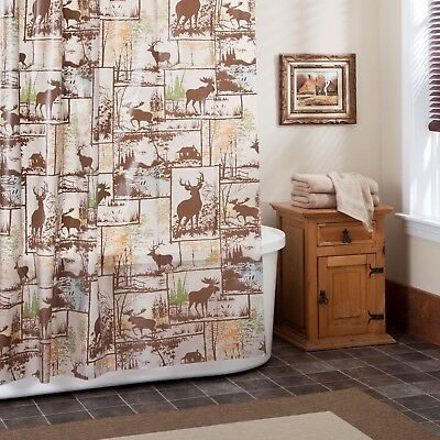 Rustic Adirondack PEVA Shower Curtain Deer Moose Bathroom Lodge Log Cabin