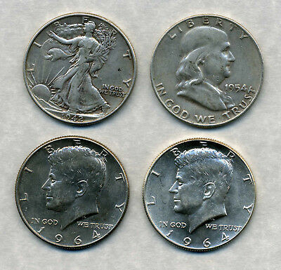 1942, 1954, And 2 X 1964 Usa Silver Half Dollars.
