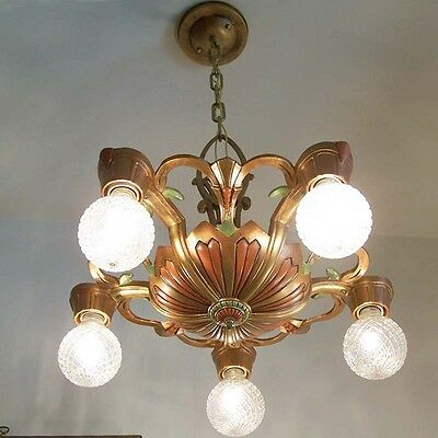 884 Vintage 20s 30s Ceiling Light lamp fixture art nouveau polychrome chandelier