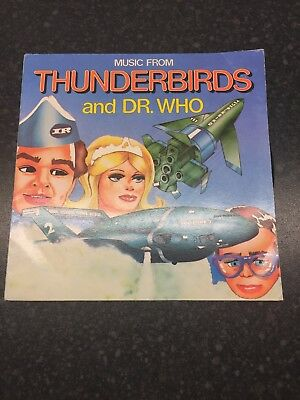 Vintage 1975 Music from Thunderbirds and Dr. Who Stereo vinyl LP record 45 R.P.M
