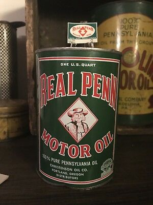 FULL Real Penn Quart Motor Oil Can w/ Oil Change Decal Reminder - Gas Sign Pump