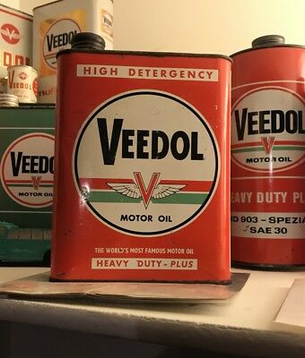 Very Rare French 2 Liter Veedol Tydol Motor Oil Can - Huile Bidon Tide Water Gas