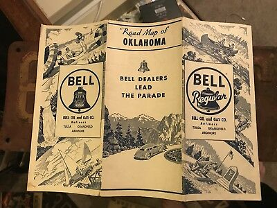 1940s Bell Oil And Gas Co. Road Map - Motor Auto Trails Pump Sign