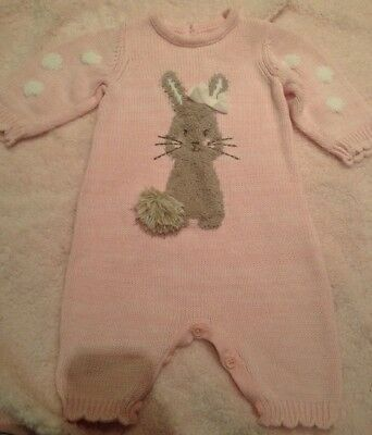 Newborn Baby Girl All In One Bunny Knitted Romper
