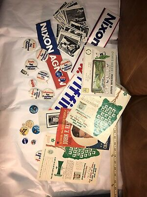 Kennedy Nixon McGovern vintage election memorabilia lot Kennedy cards buttons