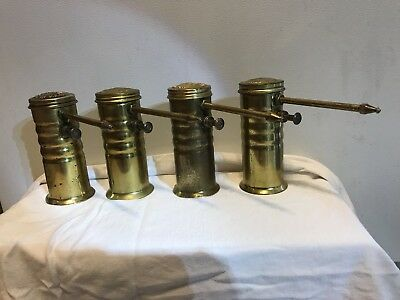 4 Antique Old Brass Eagle Oil Oiler Can
