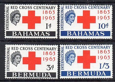 """Bahamas: Nice Full Set of """"Red Cross Centenary"""" MNH 1963 Issues (Reduced Post)"""