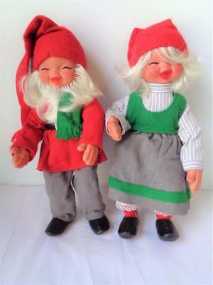 "12"" Vintage Arne Hasle Norwegian Gnome Elf Nisse Dolls CHRISTMAS Elves Latex"