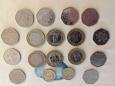 London Olympic 50p coins Olympic Triathlon etc  and Beatrix Potter