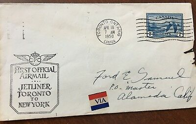 1950 Canadian First Airmail Flight Cover - Jetliner Toronto to New York