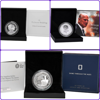 3x Queen & Prince Phillip £5 Silver Proof Coins: Jubilee + Anniversary + Phillip