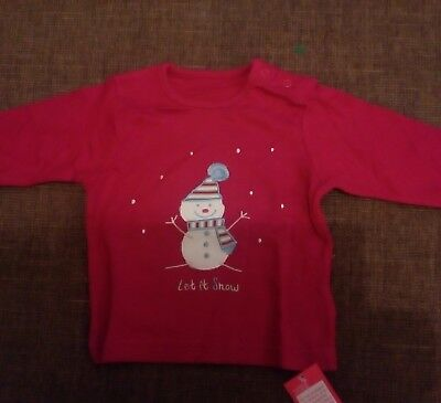 Christmas Top BNWT 3-6 months Marks and Spencer Snowman