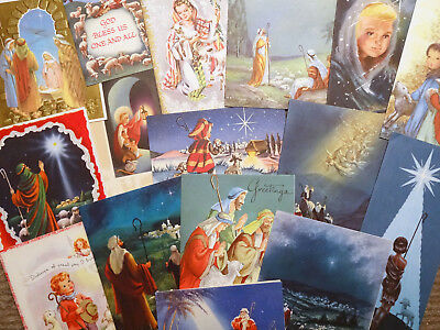 Vintage Christmas Cards, BIG Card LOT of 100 SHEPHERD Theme, Religious