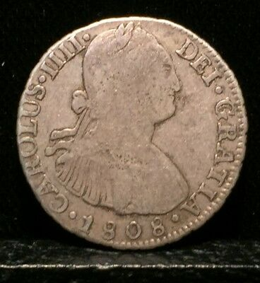 1808 Peru 2 Real Silver Coin No Reserve Auction!!!!!!!