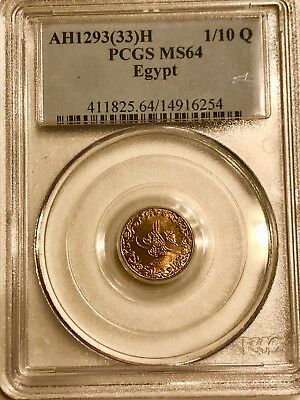 Egypt .uncirculated 1 /10 Qurish 1293/33H  ,graded By Pcgs Ms-64 .