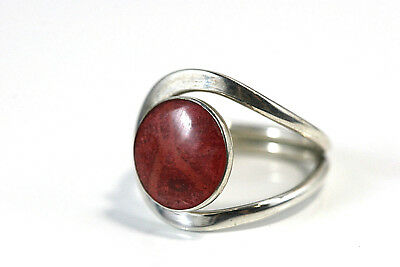 D249  Modernist Ring Genuine Stone Sterling 3.9g 925 Size 6 3/4
