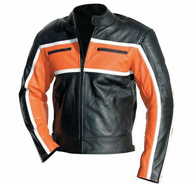 Black/Orange Strip Motorbike/Motorcycle Racing Jacket Cowhide Leather-MotoGp-NEW
