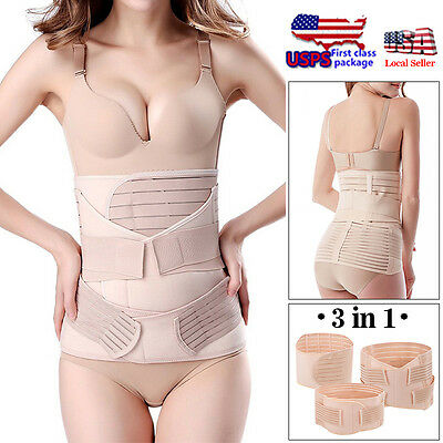 Women 3in1 Postpartum Support Recovery Belly Wrap Waist Pelvis Belt Body Shaper