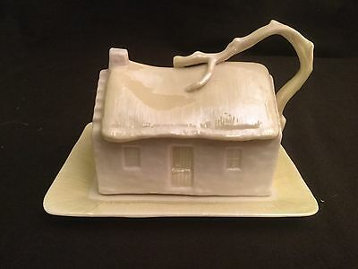 Belleek Porcelain Cottage House Covered Butter Dish Green Mark
