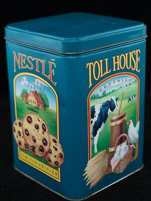 Retro Vintage Nestle Toll House Cookies Metal Tin / Container with Lid - GUC