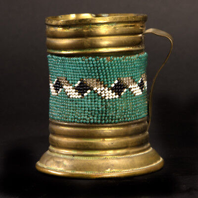 Mid 1800's -early 1900's Apache Small  Brass Mug BEADED BAND NO~RESERVE