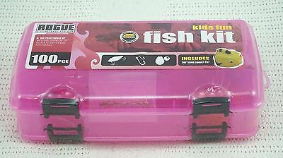 Kids Fishing 100 Piece Tackle Kit and Pink Plano Tackle Box  New Sealed