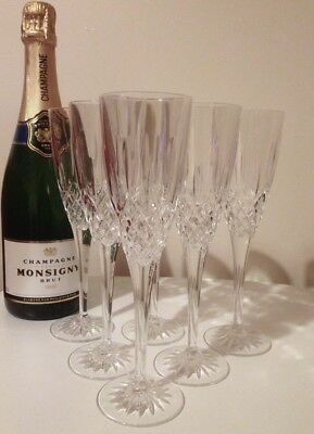 Set of 6 Royal Doulton Earlswood Crystal Champagne Flutes