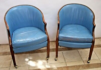 Vintage pair BAKER Rolling Brass Tack Blue Leather Desk Chair wood Trim