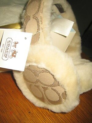 New Coach Sig C Motif Cream Shearling Head Band Ear Muffs With Gift Box - 82176