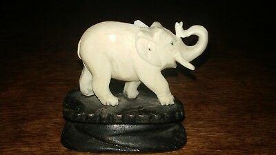 RARE CHINESE ANTIQUE 20th CENTURY ELEPHANT LIKE/IVORY hand carved ON WOOD PLINTH