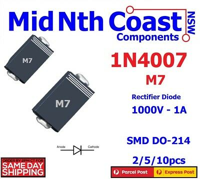 2/5/10pcs x 1N4007 IN4007 M7 TOSHIBA SMD DO-214 1000V 1A Rectifier Diodes