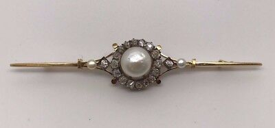 Antique Yellow Gold, Pearl And Old European/miner Cuts Diamonds Pin/brooch
