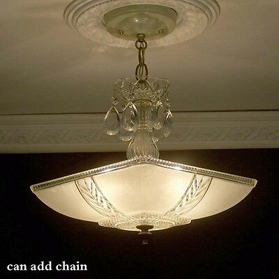 182 BEAUTIFUL  arT Deco Vintage Ceiling Lamp Fixture Glass Chandelier 3 Lights