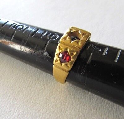 Rare Antique 22K Gold & Ruby Ring-5.9 Grams-Missing 1 Stone-Size 6-Estate-NR