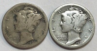 LOT OF TWO: 1926-S Mercury Dimes - TOUGHER DATE - #C8