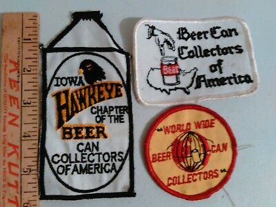 BEER CAN COLLECTORS OF AMERICA - World Wide - Iowa Hawkeye Beer Patches Lot of 3