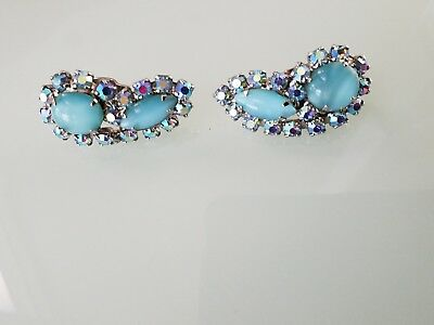 Vintage Elizabeth MORREY signed AB rhinestone blue cabochon clip on earrings