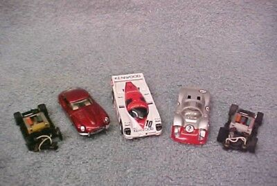 Vintage Tyco Lot Of 3 Cars And 2 Chassis - Various Ages - All Running Fine