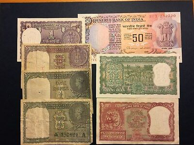 LOT INDIA: 1, 2, 5, 50 Rupees, SEVEN Banknotes VF to UNC, NO RESERVE!