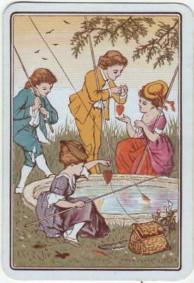 VINTAGE WIDE CHILDREN FISHING (1) swap/playing card