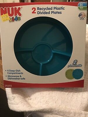 Nuk Kids Plastic Divided Plates Microwave - Dishwasher Safe BPA Free USA Set 2