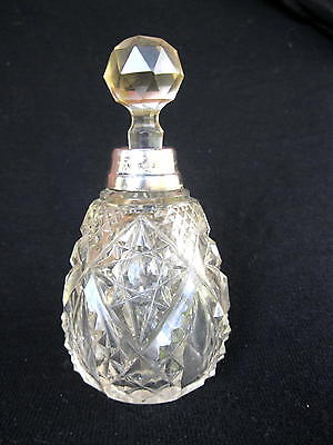 Antique Cut Glass And Sterling Silver Perfume Bottle
