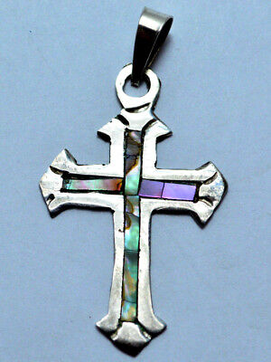VintageTaxco Mexico Sterling Silver Cross Pendant Abalone Shell Inlay !