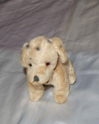 Antique Vintage  Mohair Steiff Dalmatian Sitting Dog with Collar Inset Eyes