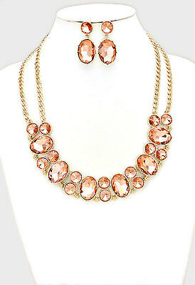 Wedding Pageant Formal Peach & Gold Oval Crystal Fashion Sttaement Necklace Set