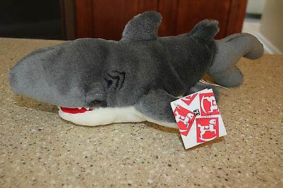 New Fao Schwarz Shark Puppet 18 Inch Grey White Nwt