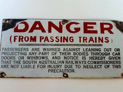 """SAR """"DANGER FROM PASSING TRAINS""""  sign"""