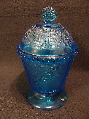 EAPG  Canton Glass Co's Blue Primrose Covered Sugar